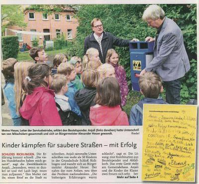 Vorschaubild zur Meldung: Leine-Zeitung: Kinder kämpfen für saubere Straßen - mit Erfolg