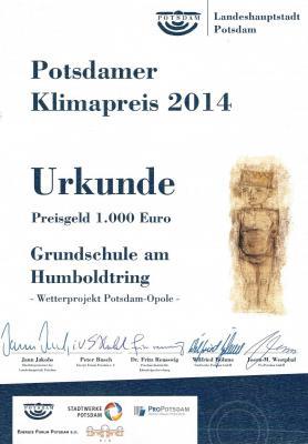 Foto zur Meldung: Potsdamer Klimapreis 2014 gewonnen