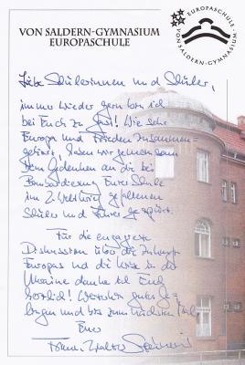 Foto zur Meldung: Gästebucheintrag von Frank-Walter Steinmeier