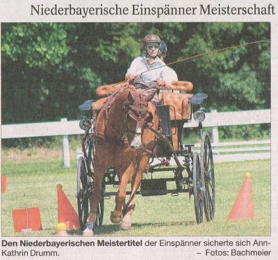 Foto zur Meldung: Ann-Kathrin Drumm Niederbayerische Meisterin im Einspänner