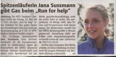 """Vorschaubild zur Meldung: Spitzenläuferin Jana Sussmann gibt Gas beim """"Run for help"""""""