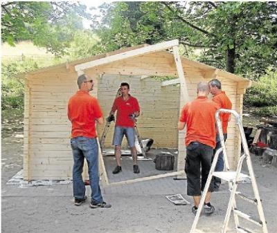 """Foto zu Meldung: Evangelische Kindertagesstätte """"SALTO VITALE"""": Neues Gartenhaus für Kita Salto Vitale in Burgschwalbach"""