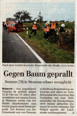 Foto zu Meldung: Verkehrsunfall L91 Roskow - Weseram