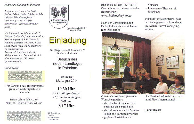 bürgerverein bollensdorf e.v. - einladung zum gespräch mit dem, Einladung