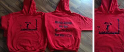 Foto zur Meldung: Kapuzen-Sweat-Shirts im FCH-Look.