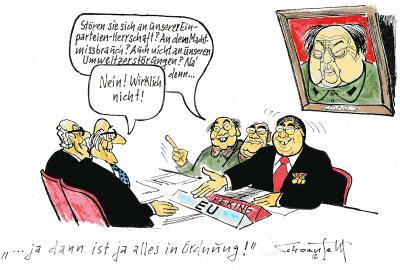 Karikatur aus der Ausstellung von Karl-Heinz Schoenfeld