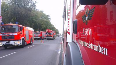 von Links: TLF 8, RW 5, KRAN 5, LF ST 1; im Hintergrund stehen weitere Fahrzeuge der Feuerwehr Köln