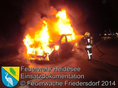 Foto vom Album: Einsatz 59/2014 am 13.10.2014 > PKW in Vollbrand auf der BAB 10