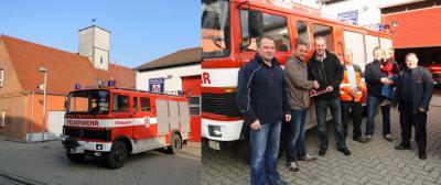 Foto zur Meldung: Übergabe des alten Feuerwehrautos.