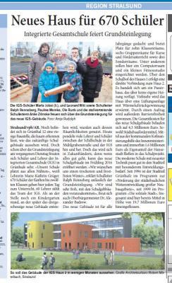 Foto zur Meldung: Neues Haus für 670 Schüler - Integrierte Gesamtschule feiert Grundsteinlegung