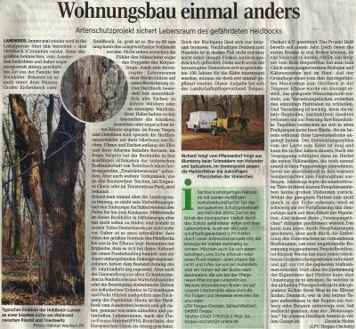 Sozialer Wohnungsbau für den Heldbock - Torgauer Zeitung (29.12.2014)