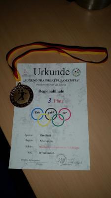 Foto zur Meldung: Ein hervorragender 3. Platz beim Regionalfinale Handball männlich am 12. Februar 2015