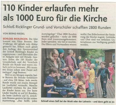 Vorschaubild zur Meldung: Leine-Zeitung: 110 Kinder erlaufen mehr als 1000 Euro für die Kirche