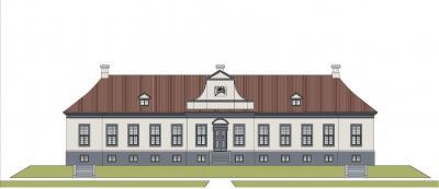 Ansicht des historischen Jagdschlosses laut der baufachlichen Untersuchung des Büros Nülken, Frankfurt (Oder)