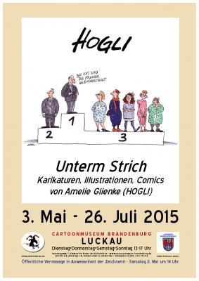 Plakat zur Ausstellung - Karikatur von HOGLI