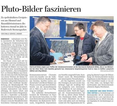 """Beitrag der """"Freien Presse"""" vom 09. November 2015"""
