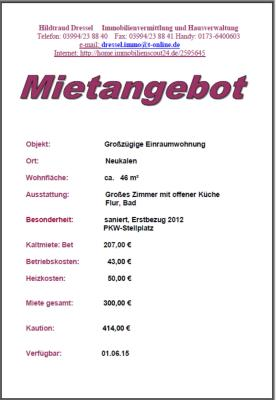 Foto zur Meldung: Mietangebot in der Peenestadt Neukalen