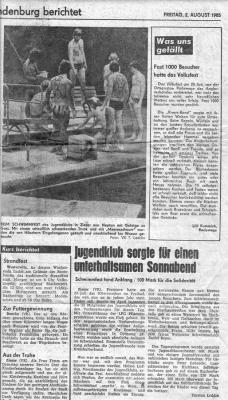 Foto zur Meldung: In der Märkischen Volksstimme gefunden: Schwimmfest 1985