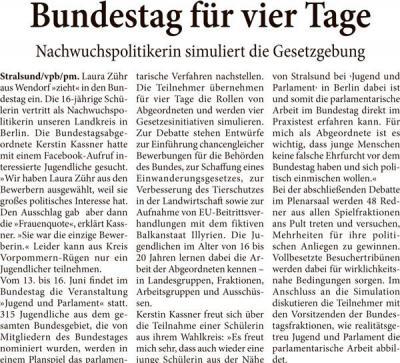 Foto zur Meldung: Bundestag für 4 Tage - Nachwuchspolitiker proben Gesetzgebung