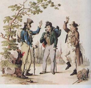 """Johann Nestroy mit Wenzel Scholz und Carl Carl in """"Der böse Geist Lumpazivagabundus"""" (1834)"""