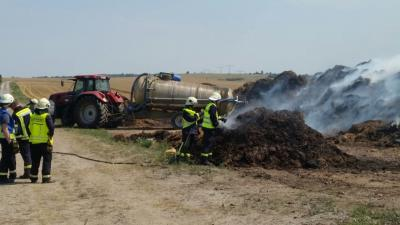 Foto zu Meldung: [Update] Brandbekämpfung - Brand eines Misthaufens
