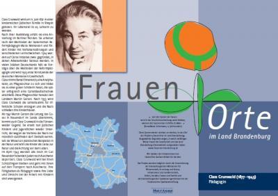 Vorschaubild zur Meldung: Einladung zum Besuch des FrauenOrtes für Clara Grunwald in Fürstenwalde und Neuendorf im Sande