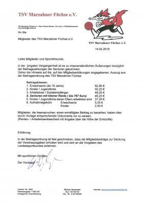 TSV Marzahner Füchse e.V - Beiträge