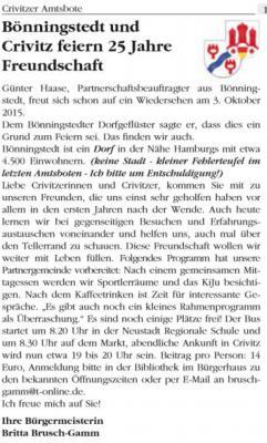 Foto zur Meldung: Besuch der Partnergemeinde Bönningstedt zum Tag der deutschen Einheit am 03.10.2015