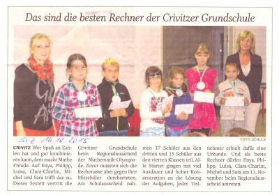 """Foto zur Meldung: Matheolympiade in der Grundschule """"Fritz Reuter"""" Crivitz"""