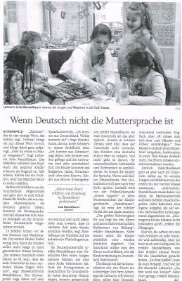 """Foto zur Meldung: Die Presse berichtet: """"Wenn Deutsch nicht die Muttersprache ist"""""""
