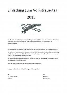 Foto zur Meldung: Einladung zum Volkstrauertag 2015