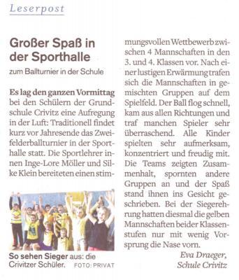 """Foto zur Meldung: Zweifelderballturnier in der Grundschule """"Fritz Reuter"""" Crivitz"""