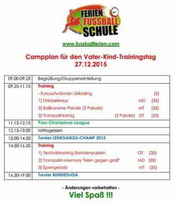Foto zur Meldung: Programm für die Ferien-Fußball-Schule 27.12.2015