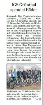 Foto zur Meldung: IGS Grünthal spendet Räder