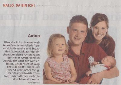 Foto zu Meldung: Die Löwenfreunde Vierkirchen – Pasenbach gratulieren Ihrem Schriftführer zur Geburt seines Sohnes!