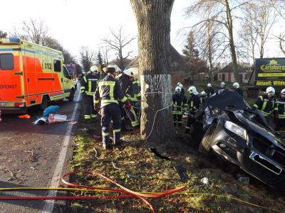 Foto zur Meldung: PKW gegen Baum , 2 eingeklemmte Personen