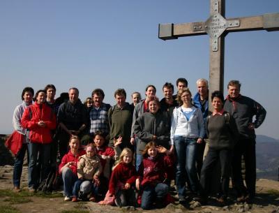 Gipfelfoto an der Hochwaldbaude