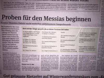 """Foto zur Meldung: Projekt """"Messias"""" - Sangesfreunde gesucht"""