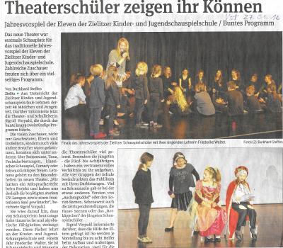 Vorschaubild zur Meldung: Theaterschüler zeigen ihr Können - Volksstimmeartikel vom 27.01.16