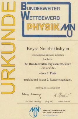 Vorschaubild zur Meldung: Erfolg bei bundesweitem Physikwettbewerb