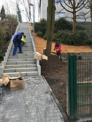 Foto zu Meldung: Arbeiten der Treppe Am Schützenplatz in vollem Gange