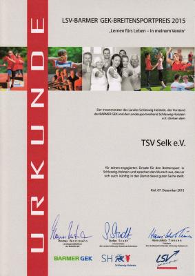 Foto zu Meldung: TSV Selk hat den Breitensportpreis 2015 erhalten