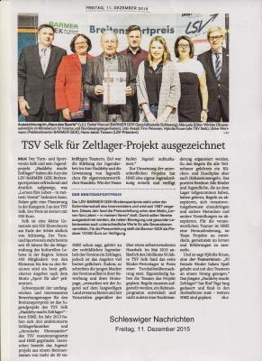 Foto zu Meldung: TSV Selk für Zeltlagerprojekt 2015 ausgezeichnet