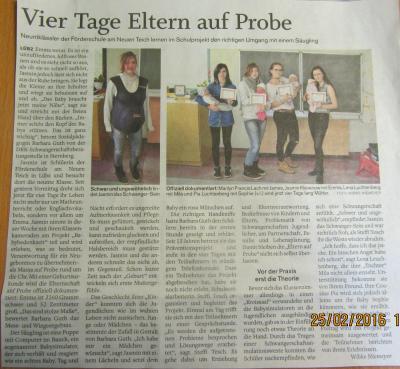 Artikel in der Schweriner Volkszeitung
