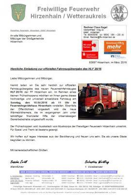 Foto zur Meldung: Einladung Fahrzeugübergabe HLF 20/16
