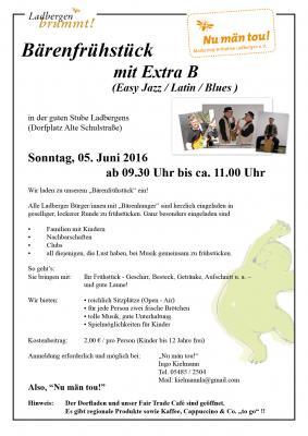 Foto zur Meldung: Ladbergen brummt - Bärenfrühstück mit der Musikgruppe Extra-B am 05.06.2016