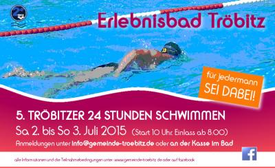 Foto zu Meldung: 5. Tröbitzer 24 Stunden Schwimmen 2015  -  für jedermann, SEI DABEI!