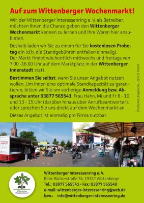 Vorschaubild zur Meldung: Kostenloser Probetag auf dem Wittenberger Wochenmarkt