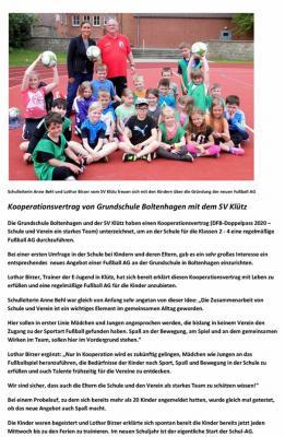 Vorschaubild zur Meldung: Kooperationsvertrag Grundschule Boltenhagen mit dem SV Klütz unterzeichnet