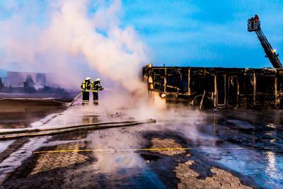 Foto zur Meldung: Erneuter  Brand auf dem Betriebsgelände von RegioBus